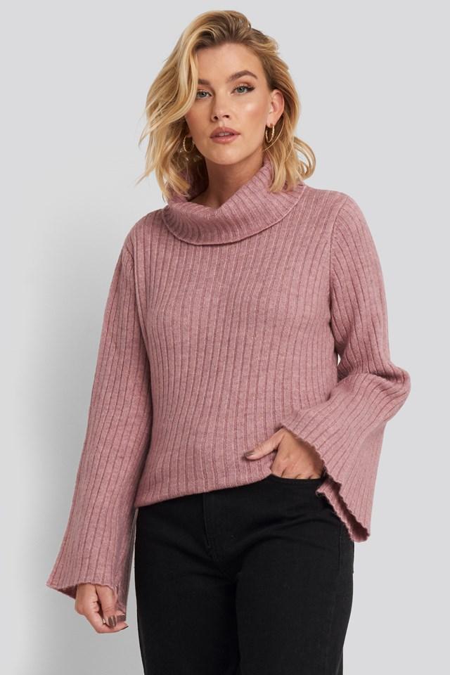 Wide Sleeve Turtleneck Sweater Dusty Rose