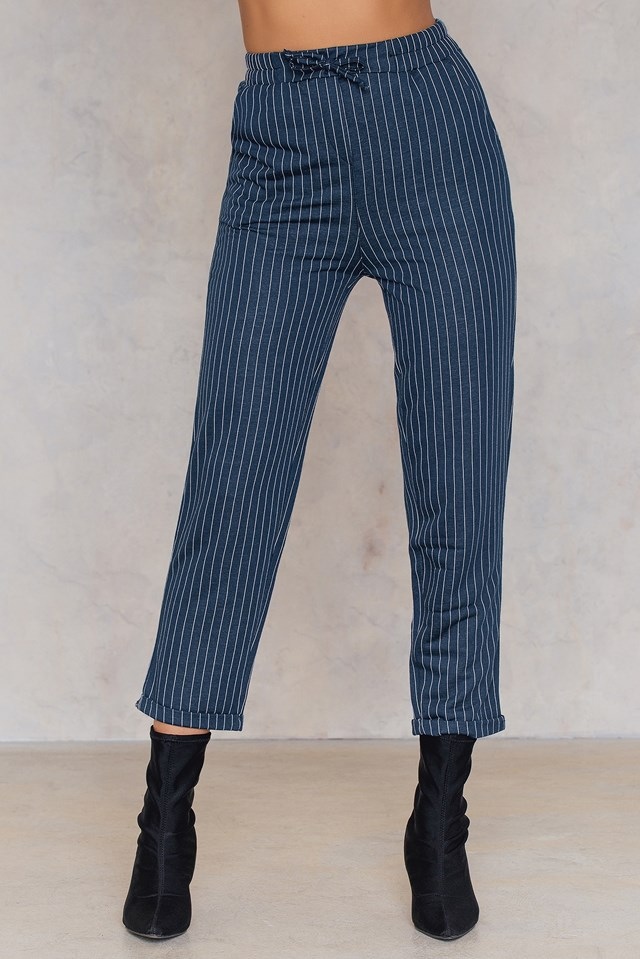 Wide Striped Culotte Pants Navy