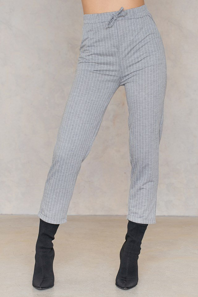 Wide Striped Culotte Pants Gray