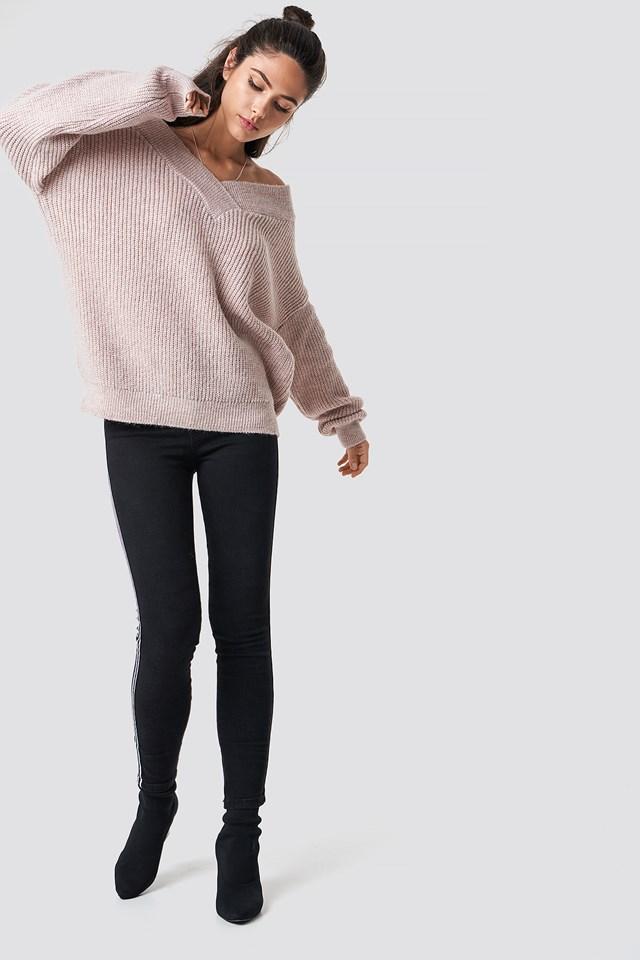 Wide V-Neck Glitter Knitted Jumper Powder Pink