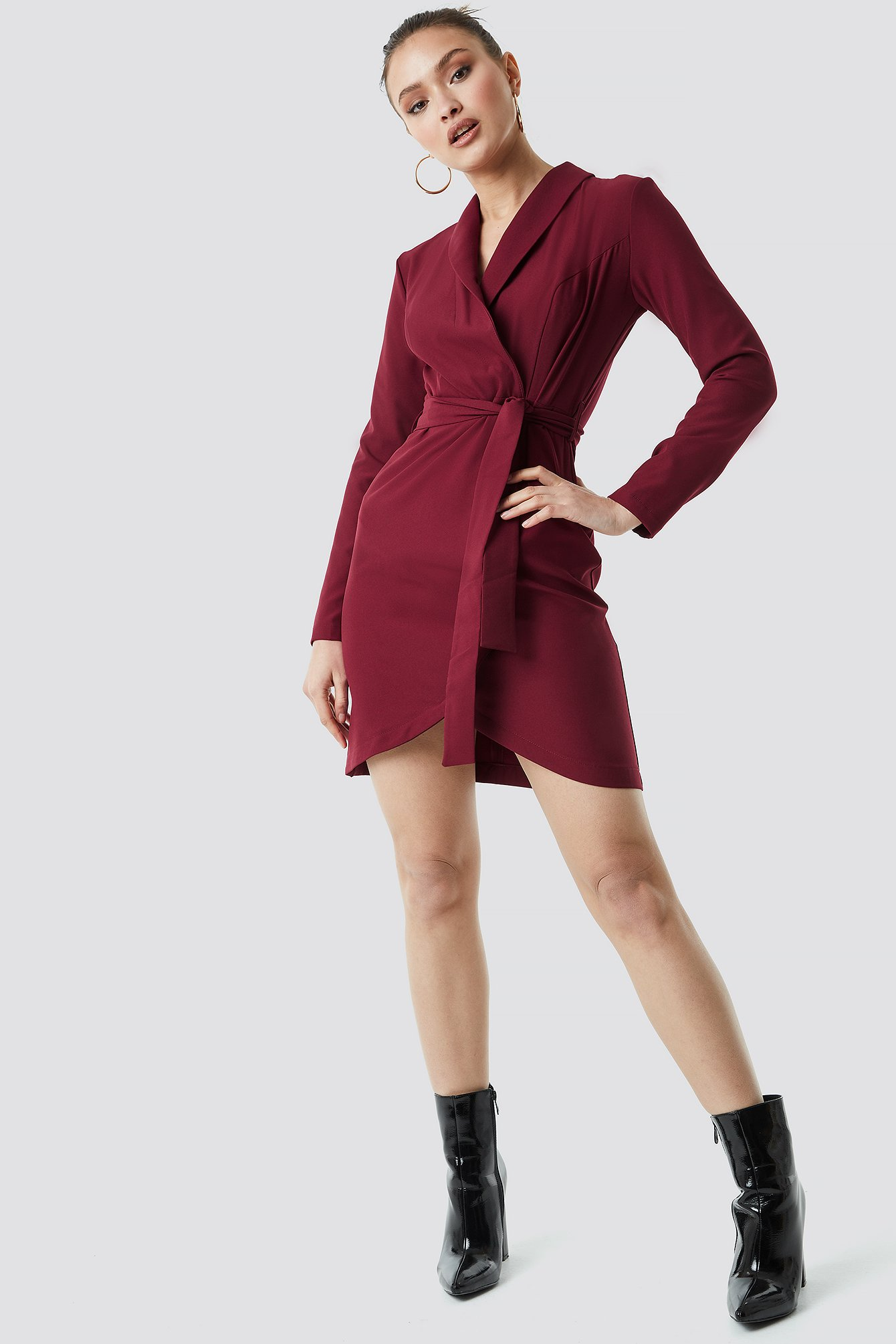Burgundy Wrap Around Belt Dress