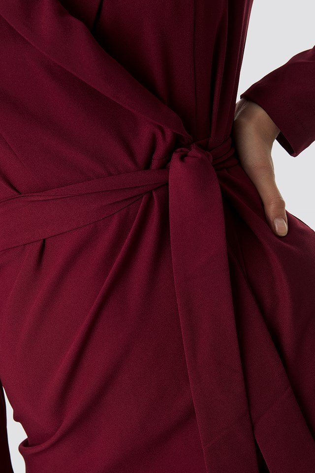 Wrap Around Belt Dress Burgundy