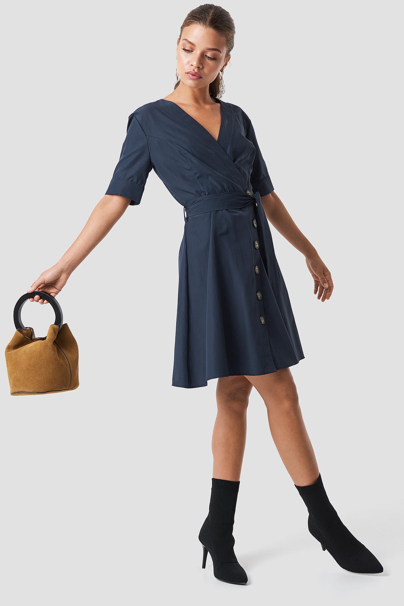 Wrap Around Button Detailed Dress NA-KD.COM