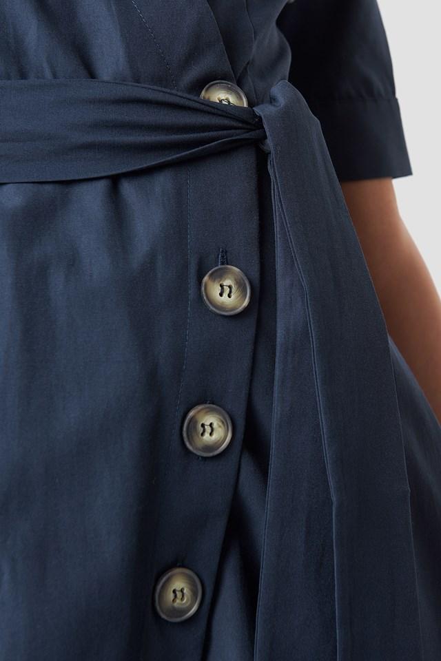 Wrap Around Button Detailed Dress Navy