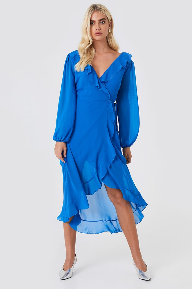 Wrap Around Frill Dress Blue