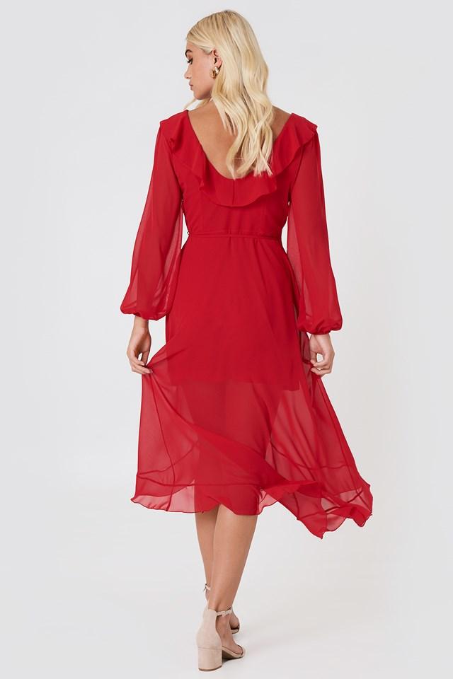 Wrap Around Frill Dress Red