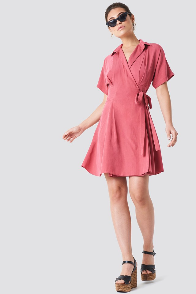 Wrap Around Midi Dress Pink