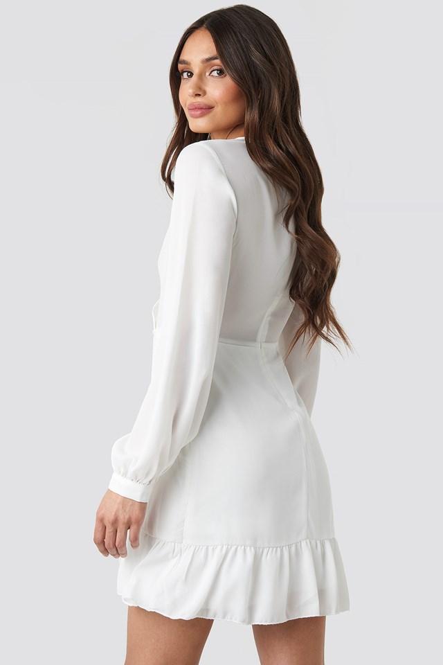 Wrap Around Ruffle Dress Ecru