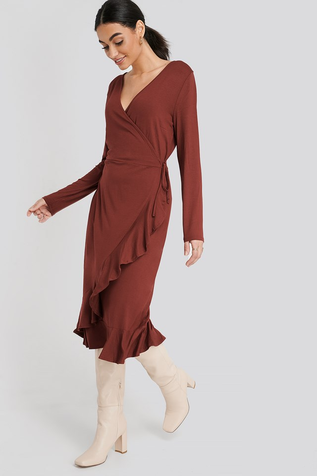 Wrap Knitted Dress Burgundy