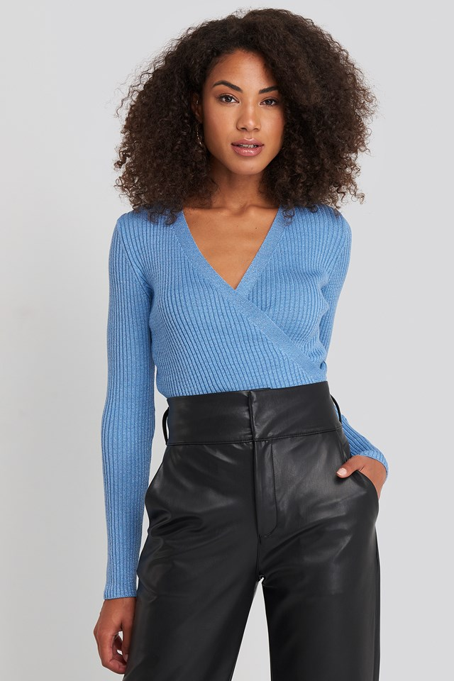 Wrap Knitted Top Blue