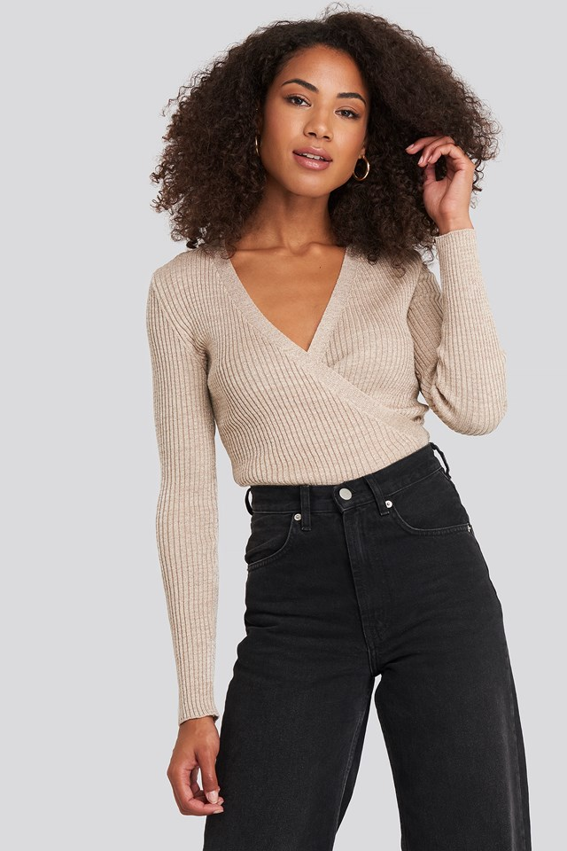 Wrap Knitted Top Beige