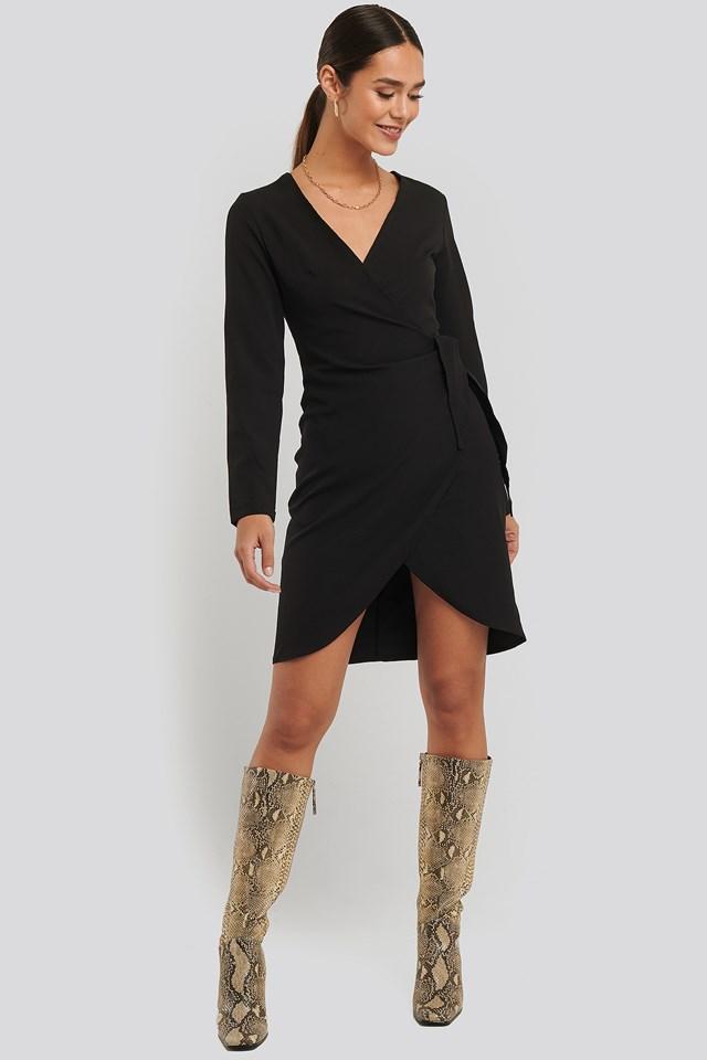 Wrap Mini Dress Black