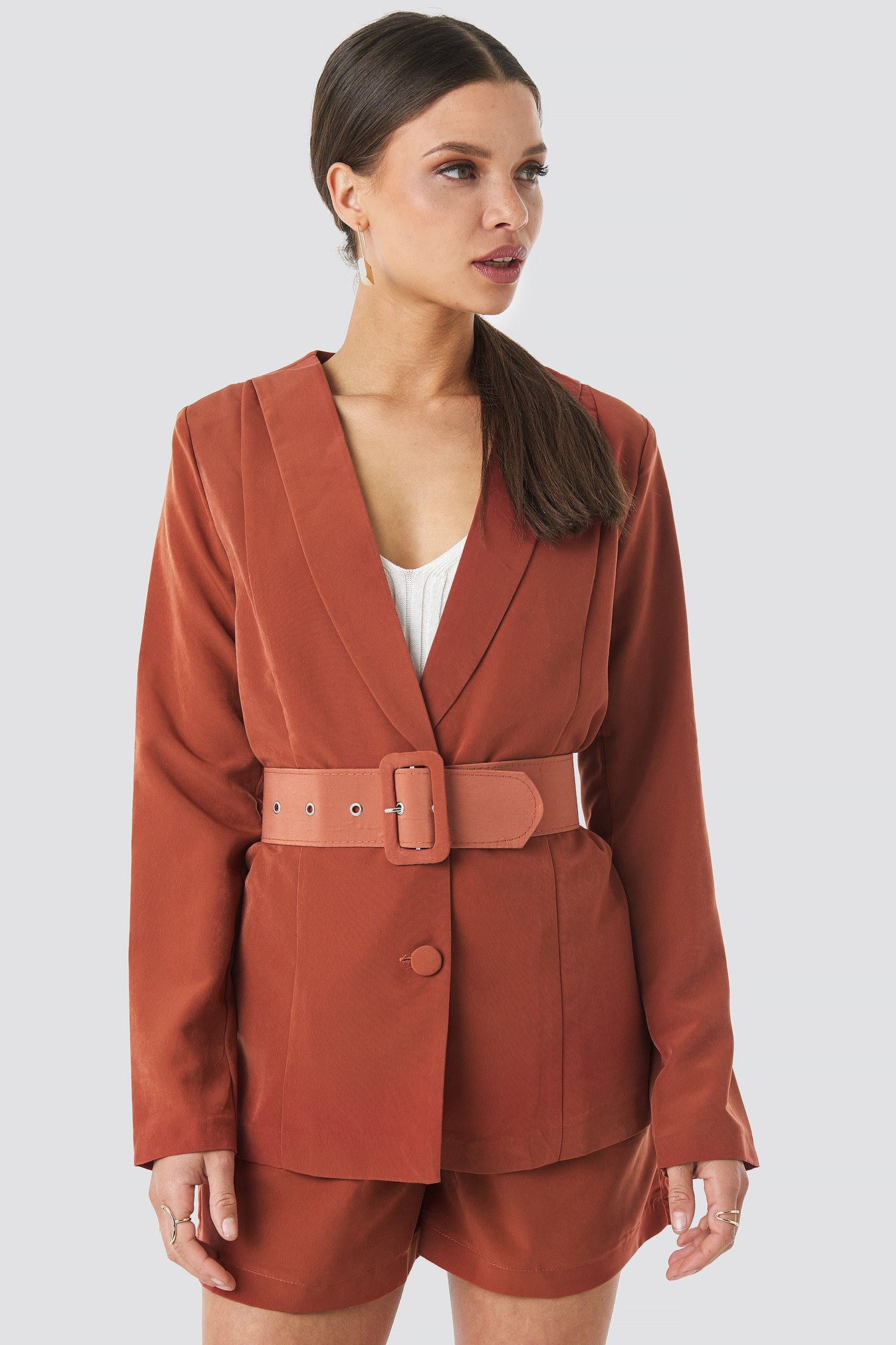 trendyol -  Yol Belt Detailed Blazer - Red