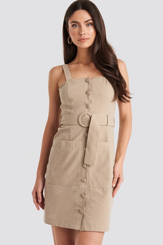 Yol Belted Midi Dress Beige