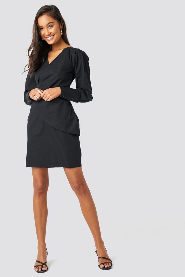 Yol Binding Detail Dress Black