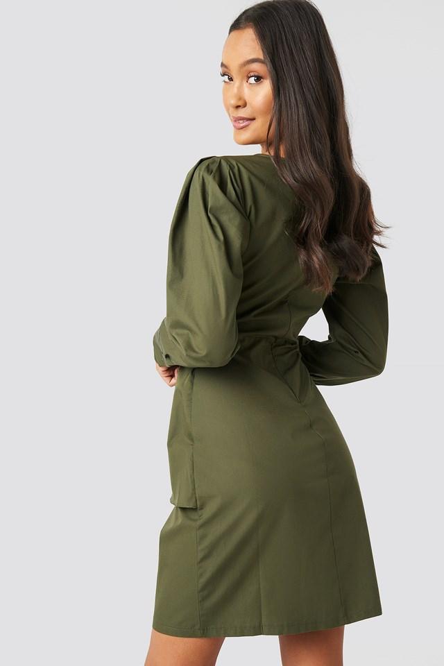 Yol Binding Detail Dress Khaki