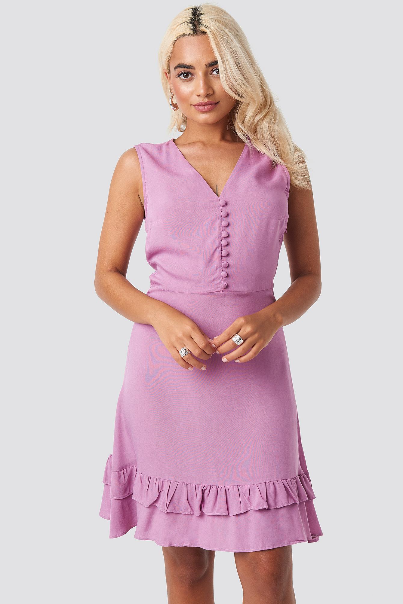 trendyol -  Yol Button Detail Mini Dress - Purple