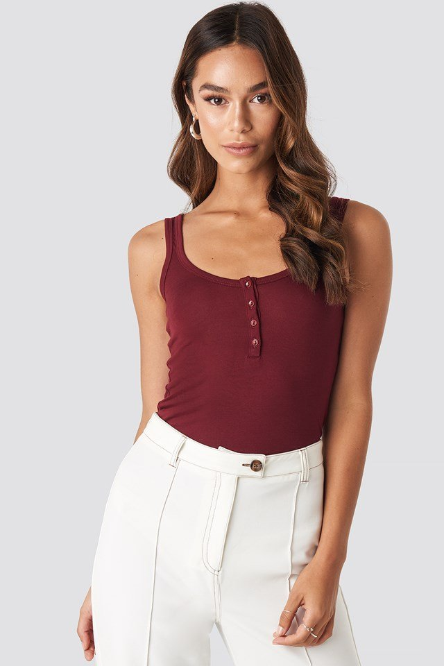 Yol Button Singlet Burgundy