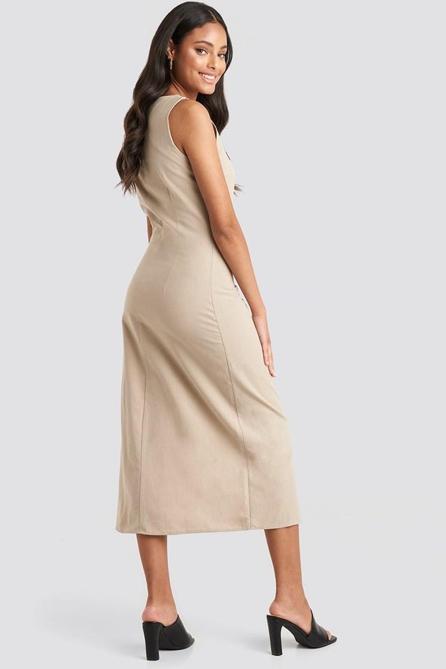 Yol Buttoned Midi Dress Stone
