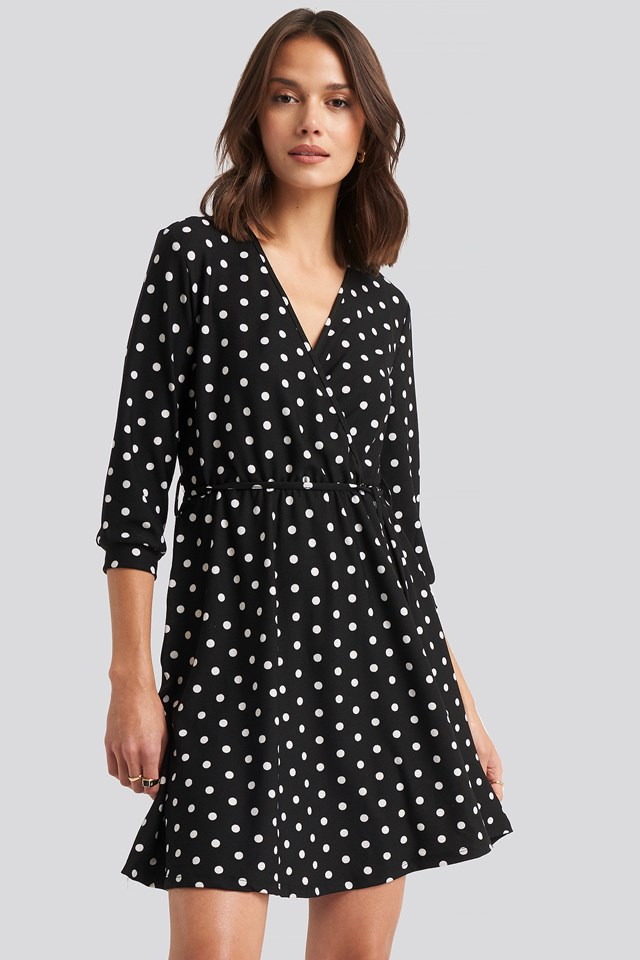 Yol Dotted Mini Dress Black