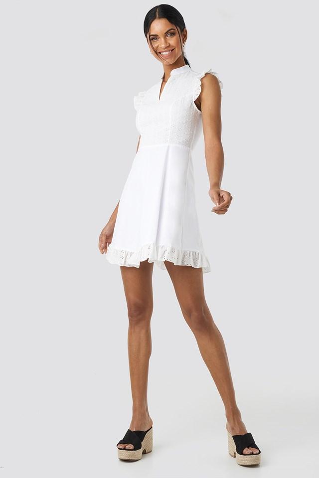 Yol Embroidered Mini Dress White