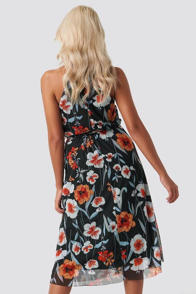 Yol Flower Midi Dress Black