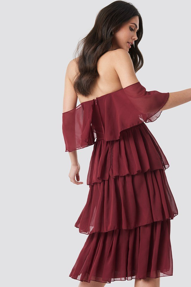 Yol Flywheel Midi Dress Burgundy