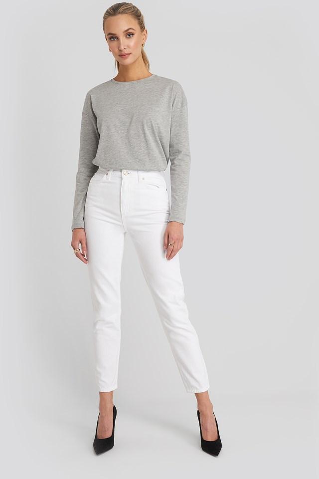 Yol High Waist Mom Jeans White