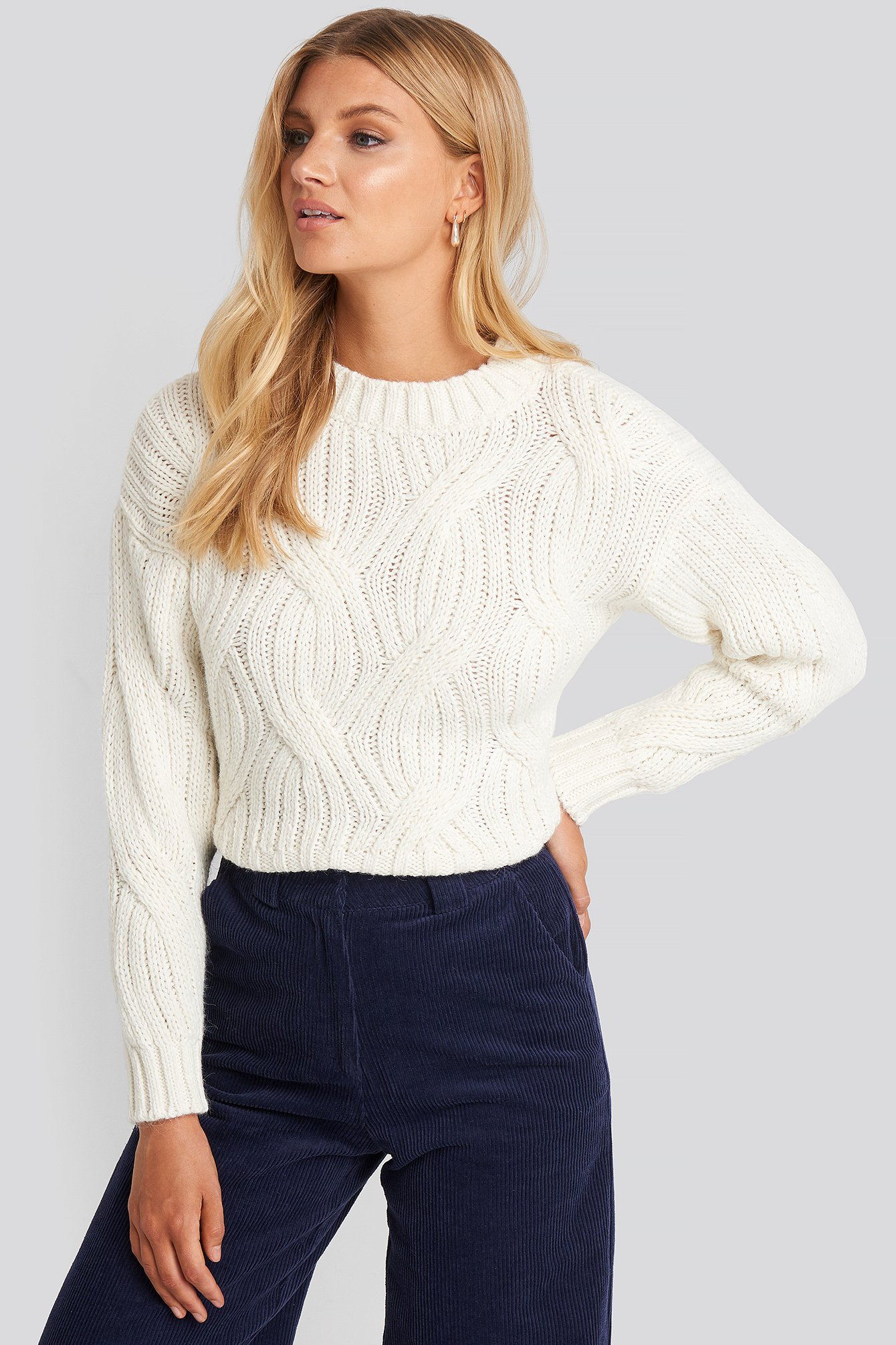 trendyol -  Yol Knit Detail Sweater - White