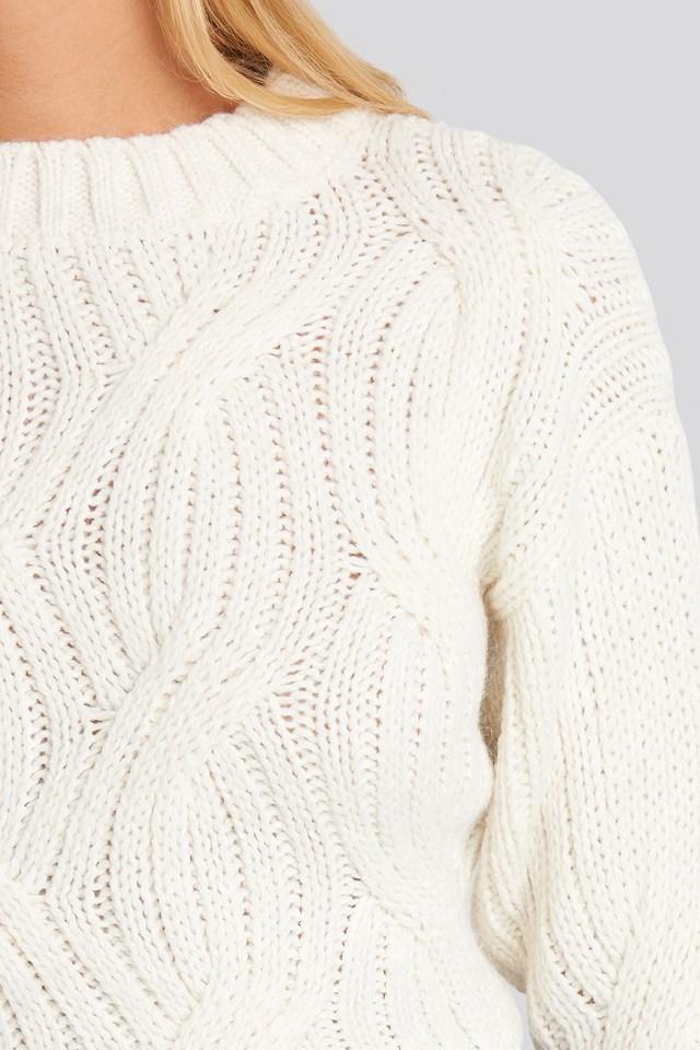 Yol Knit Detail Sweater Ecru
