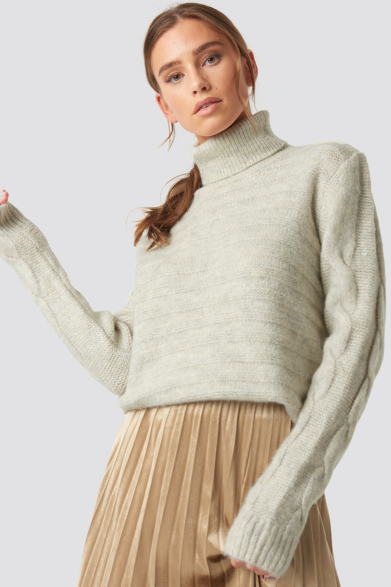 1cea389fe Yol Knitted Polo Jumper Beige | na-kd.com