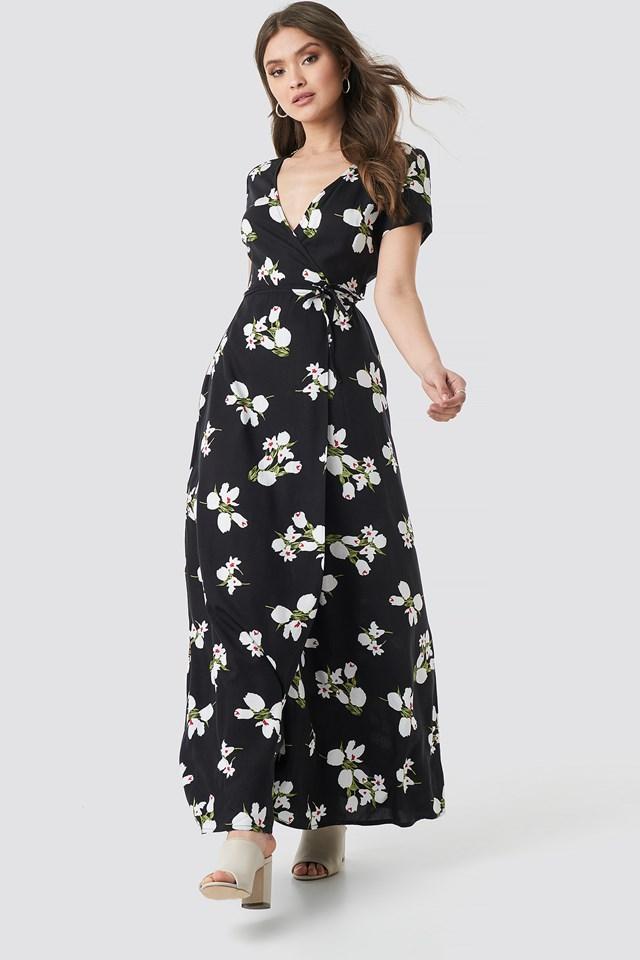 Yol Long Flower Dress Black