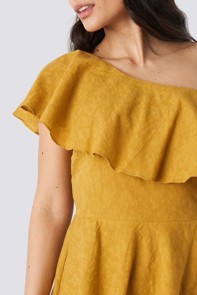 Yol One Shoulder Dress Mustard
