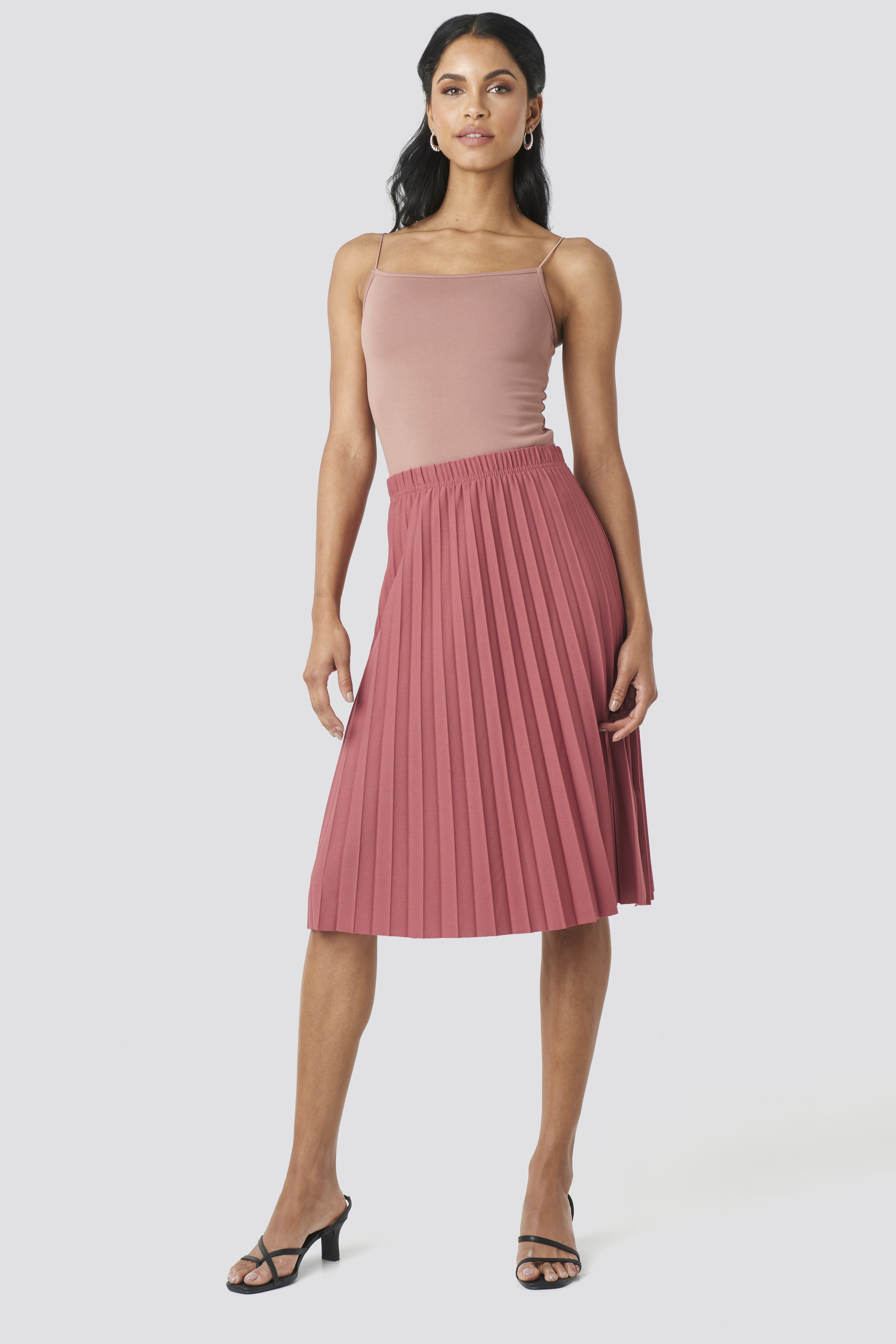 biggest discount buying now authorized site Yol Pleated Midi Skirt Pink in Dusty Rose