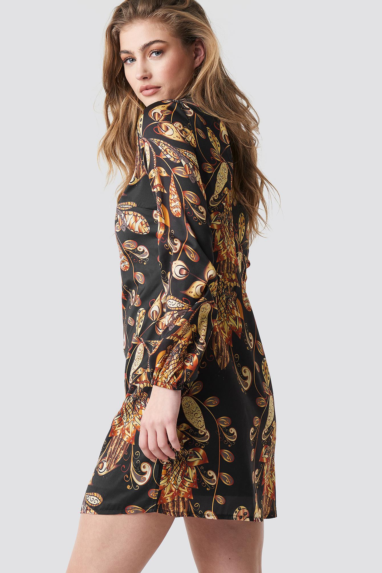 Yol Printed Mini Dress NA-KD.COM