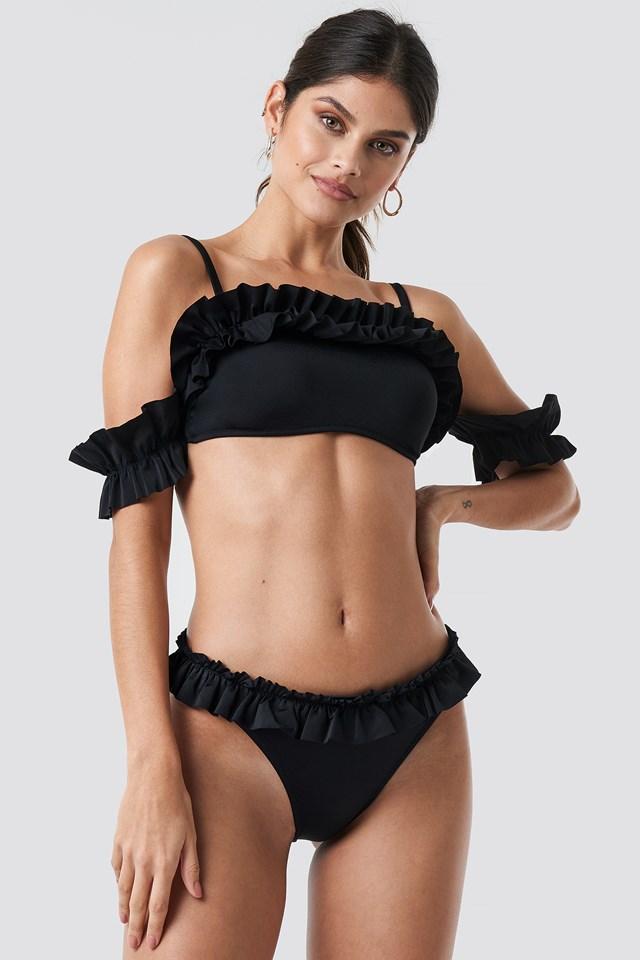 Yol Ruffle Detailed Bikini Bottom Black
