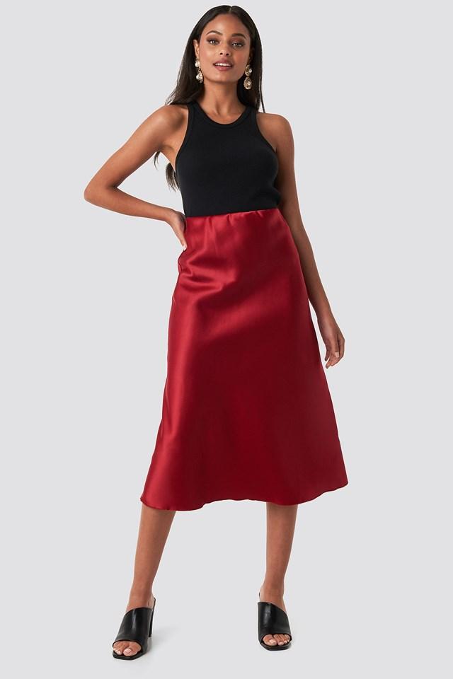 Yol Satin Skirt Burgundy