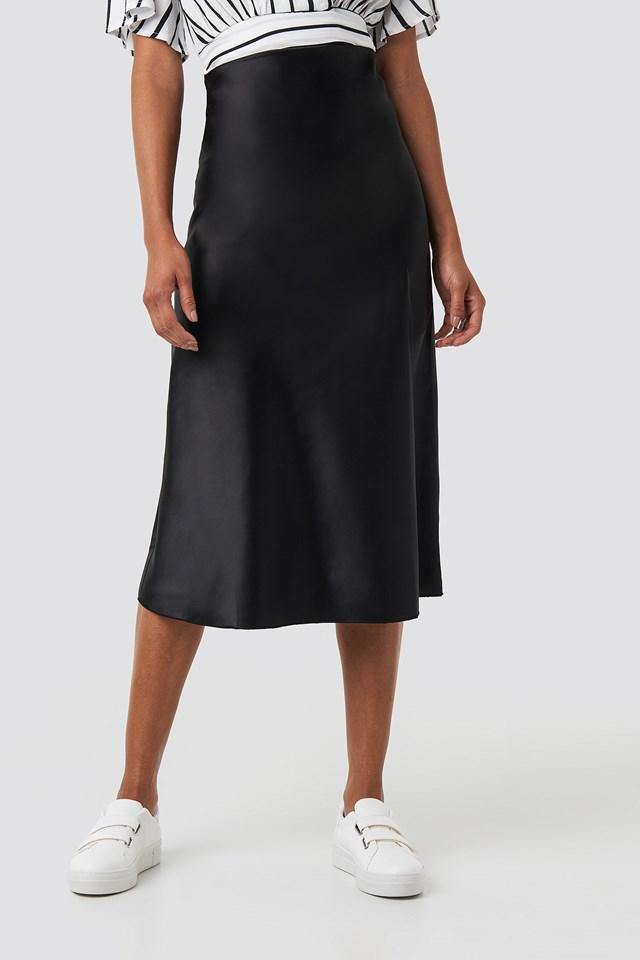 Yol Satin Skirt Black