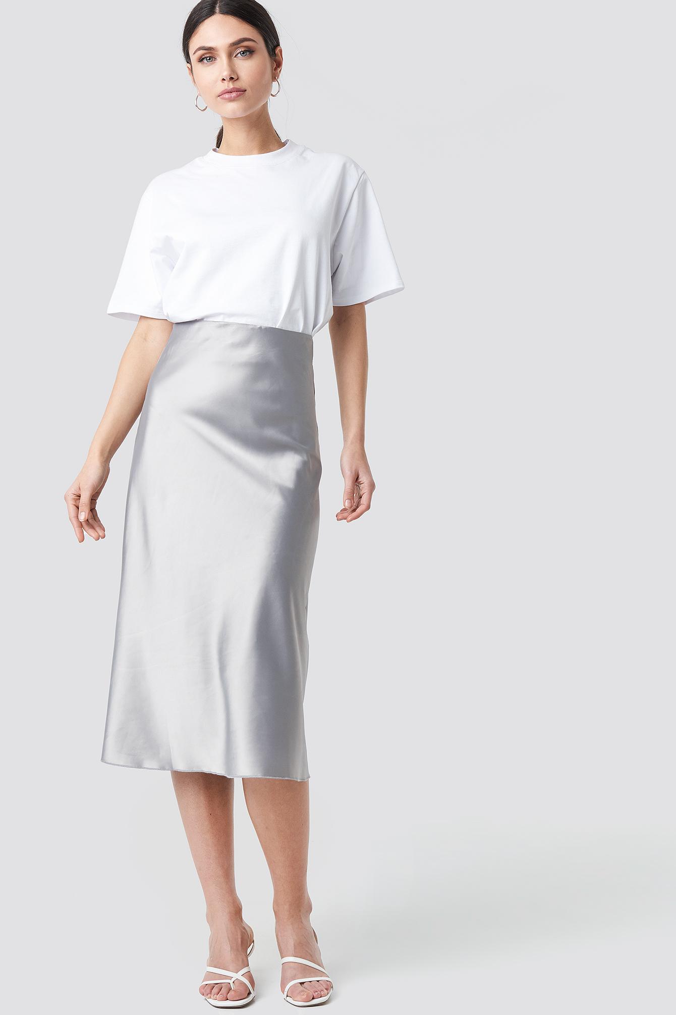 trendyol -  Yol Satin Skirt - Silver