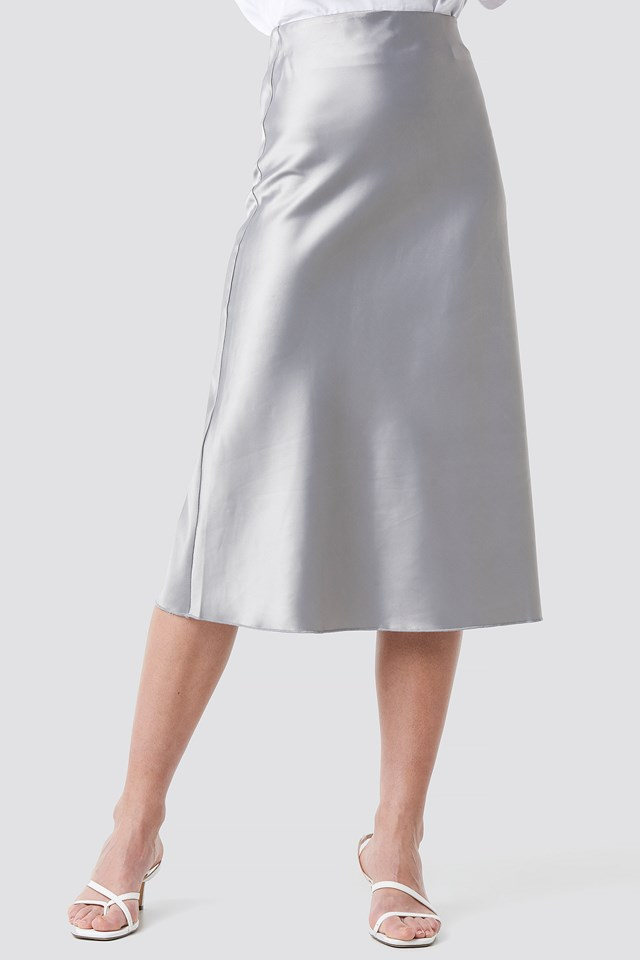 Yol Satin Skirt Silver