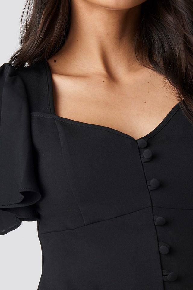 Yol Sleeve Detailed Blouse Black