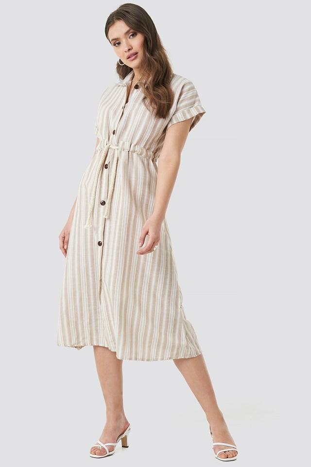 Yol Striped Midi Dress Beige
