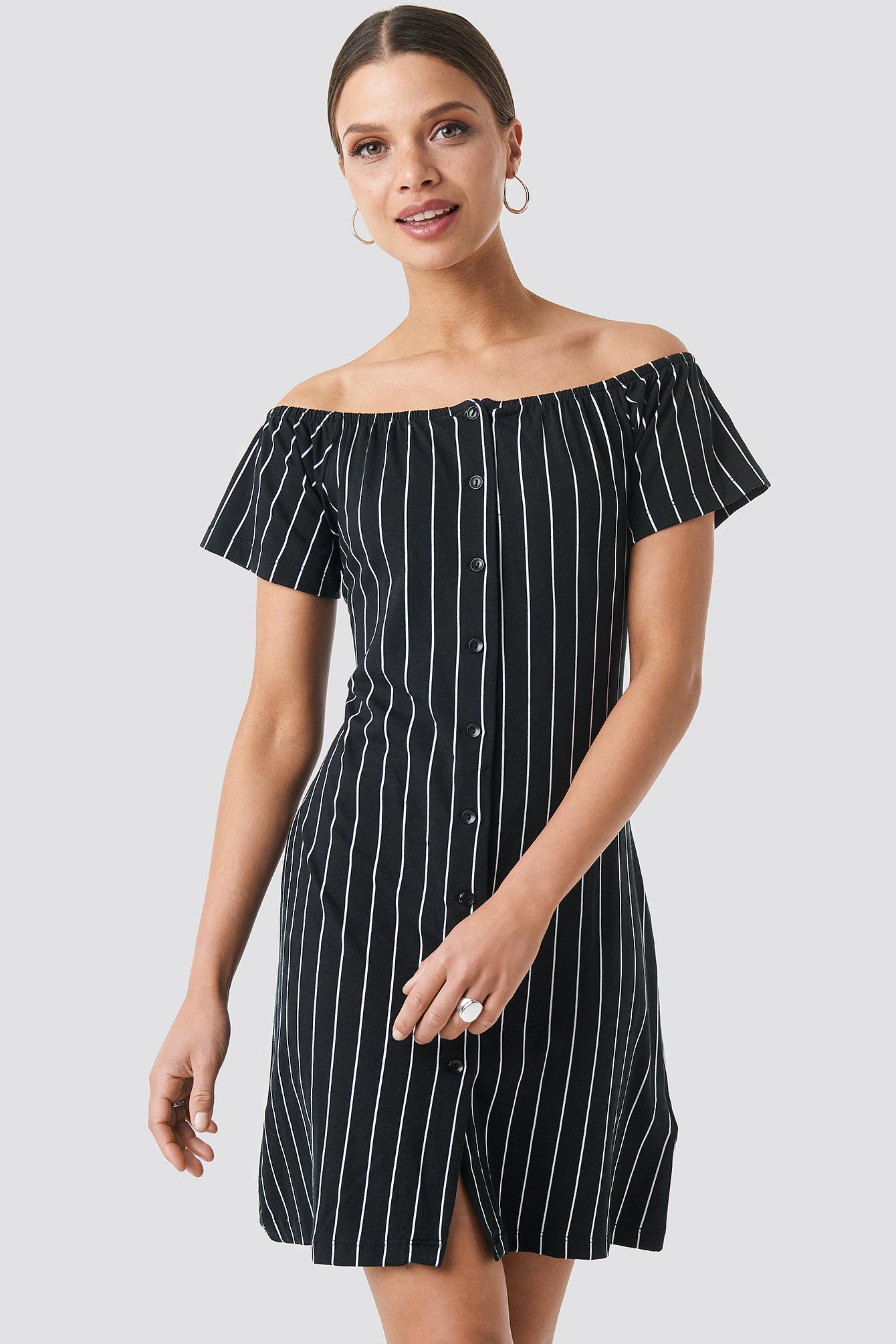trendyol -  Yol Striped Mini Dress - Black