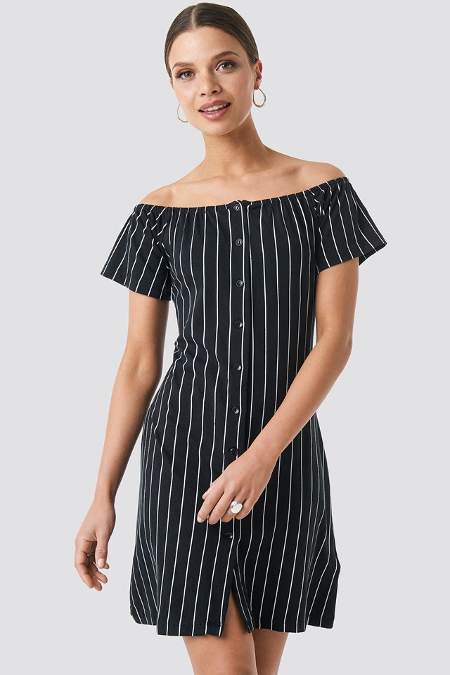 Yol Striped Mini Dress Black