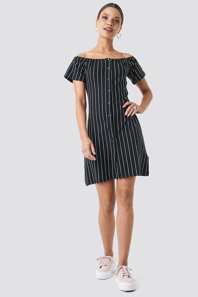 Yol Striped Mini Dress Black