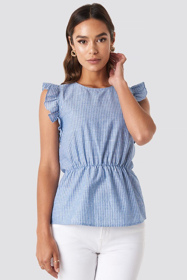 Yol Striped Top Blue