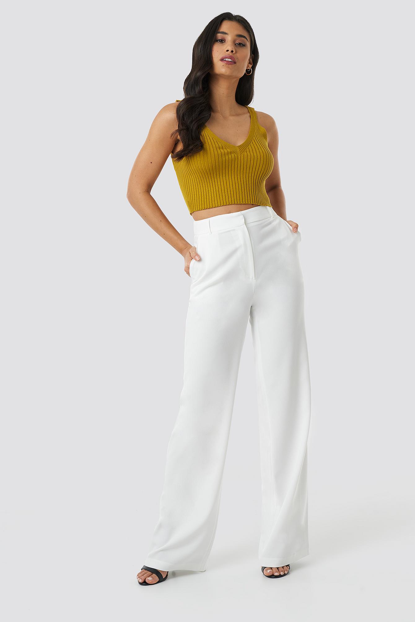 trendyol -  Yol Wide Pants - White