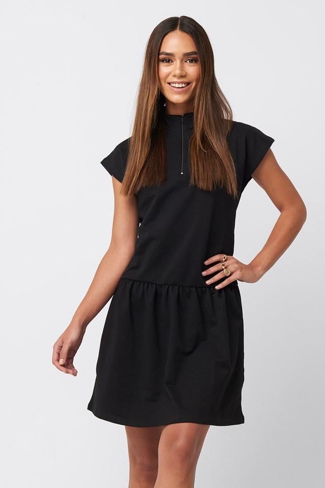 Zip Detailed Mini Dress Black