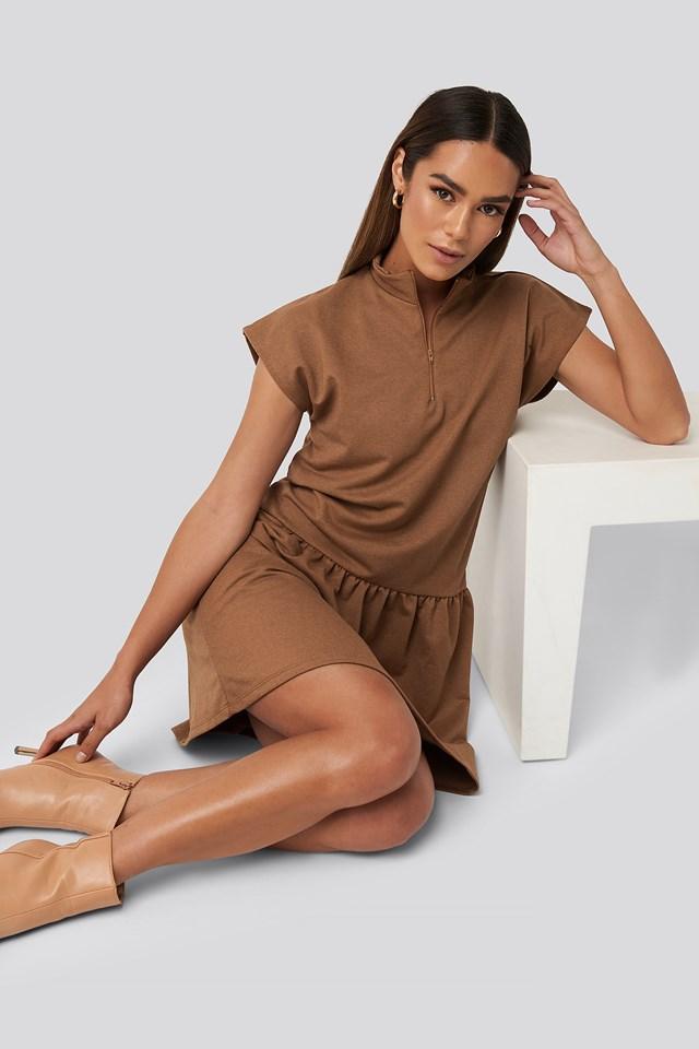Zip Detailed Mini Dress Camel