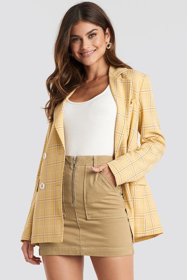 Zipped Mini Denim Skirt Tobacco
